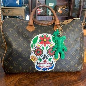 "Louis Vuitton Speedy 35 W/ Customized ""Sugar Skull"